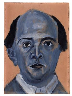 Blue self-portrait by Arnold Schoenberg, 1910